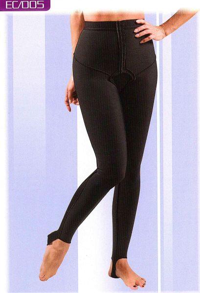 Kompressionshose langes Bein mit Steg, offener Schritt in Gr. 1-7, in schwarz und weiß lieferbar, aus Coolmax